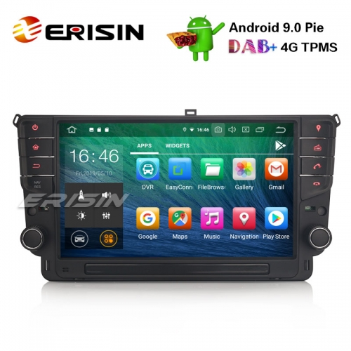 "Erisin ES7911G-64 9"" Car Stereo GPS Android 9.0 TPMS BT DVR DAB+ DTV-IN SatNav For VW Golf VII/7"