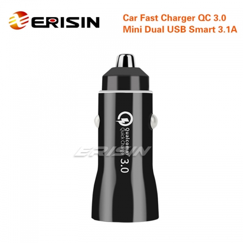 Erisin ES052 Quick Car Charger QC 3.0 Travel Dual USB 3.1A For iPhone Android ABS+PC Vechicle