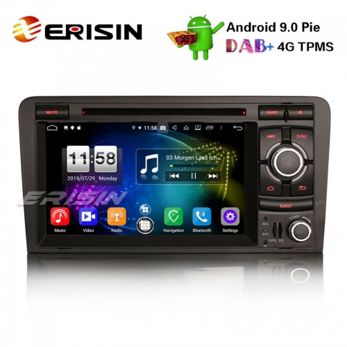 "Erisin ES7737A 7"" Android 9.0 DAB+ Car Stereo GPS TPMS DVR DVB-T/T2 SWC Wifi for AUDI A3 S3 RS3"