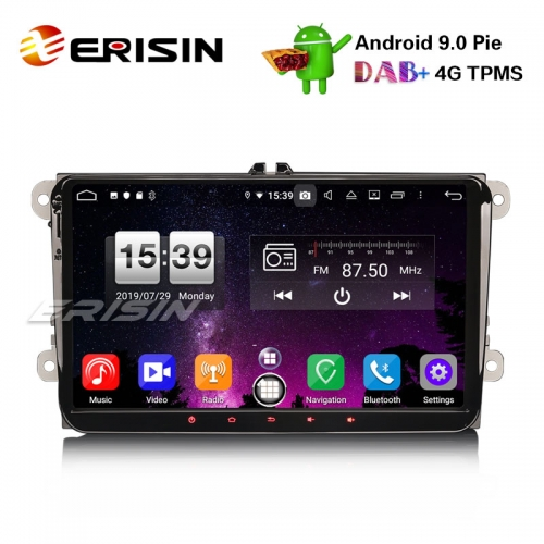 "Erisin ES7791V 9"" Car GPS DAB+ Android 9.0 OPS for VW Golf Passat Tiguan Polo Eos Seat Skoda Stereo"