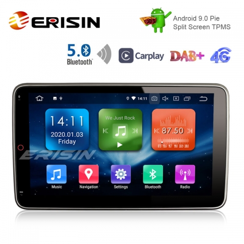 "Erisin ES1123U 10.1"" Android 9.0 Pie OS Car GPS TPMS 4G GWiFi DAB+ BT5.0 CarPlay"