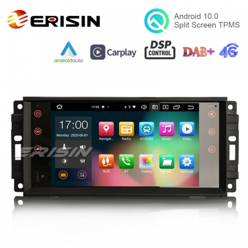 "Erisin ES8176J 7"" PX5 64G Jeep Android 10.0 Car Stereo DSP CarPlay & Auto GPS TPMS DAB+ 4G for Compass Wrangler Commander Dodge Chrysler"