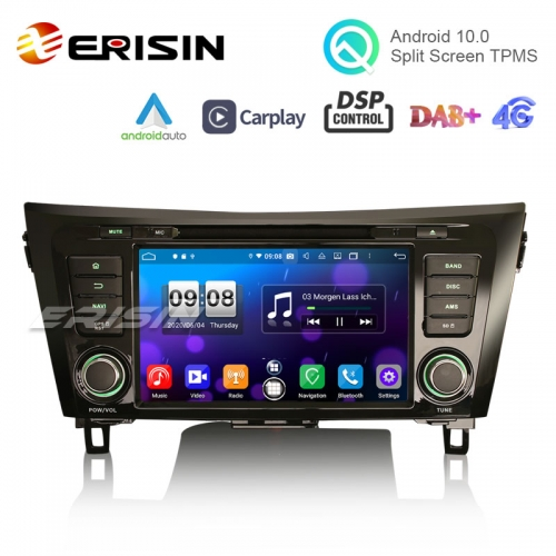 "Erisin ES8752Q 8"" Octa-Core Android 10.0 Car Stereo CarPlay & Auto 4G DSP Wifi GPS for Nissan X-Trail Qashqai Rogue"